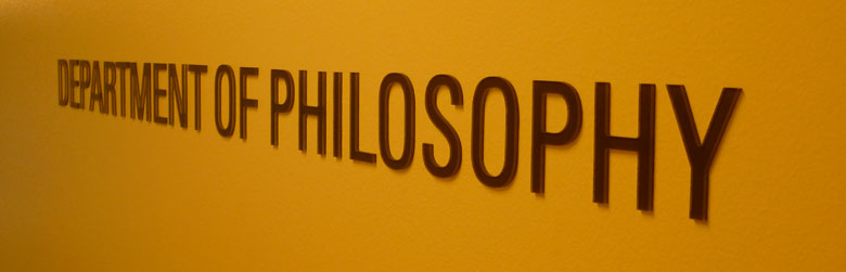Department of Philosophy lettering from a sign outside the office door