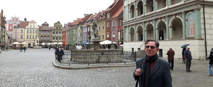 Professor Paul Roth in the market square in Poznan, Poland