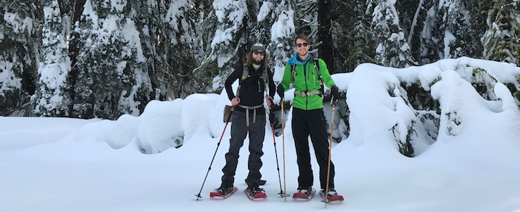 two graduate students snowshoeing in Yosemite, Winter 2017