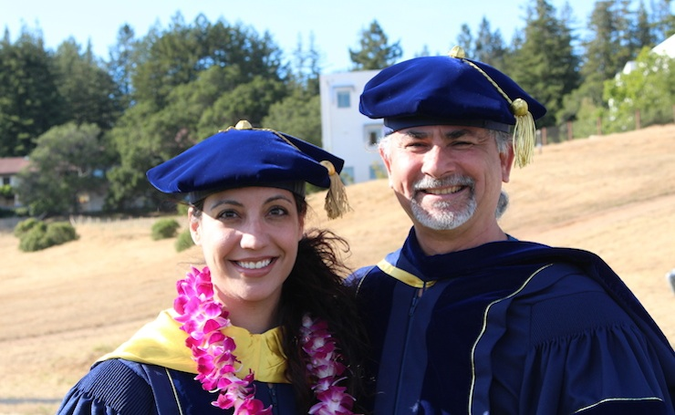 Amena Coronado and Professor Daniel Guevara, Commencement 2016